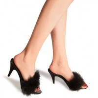 kitten heels with marabou trim