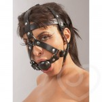 Silence Your Partner With a Leather Ball Gag And Head Restraint