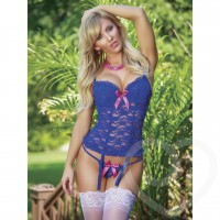 blue lace bustier and G string set